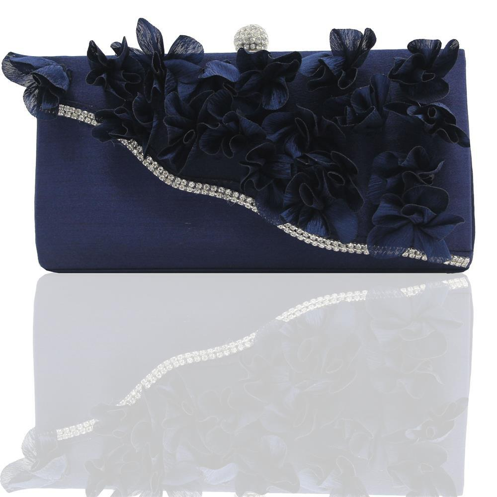 2018 Direct Selling Top Women Floral Hasp Diamond Satin Flower Evening Clutch Bag - DARK BLUE