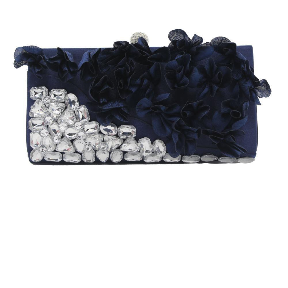 2018 Direct Selling Top Women Floral Hasp Diamond Satin Flower Evening Clutch Bag - BLUE