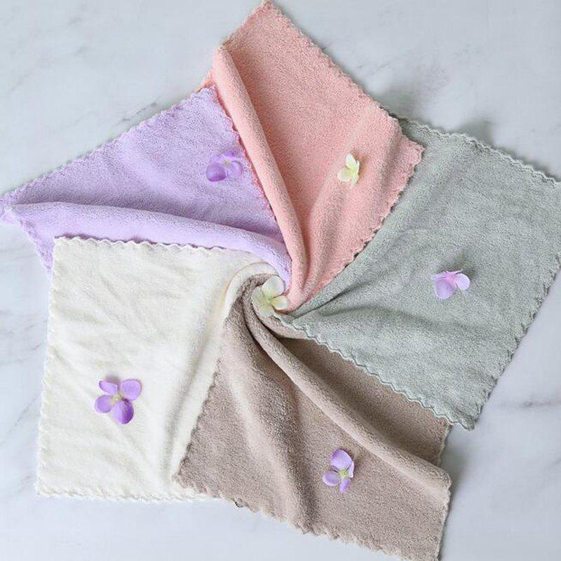4 Pcs Face Towels Thickened Soft Water Absorption Baby Face Towels - GRAY 25CM X 25CM