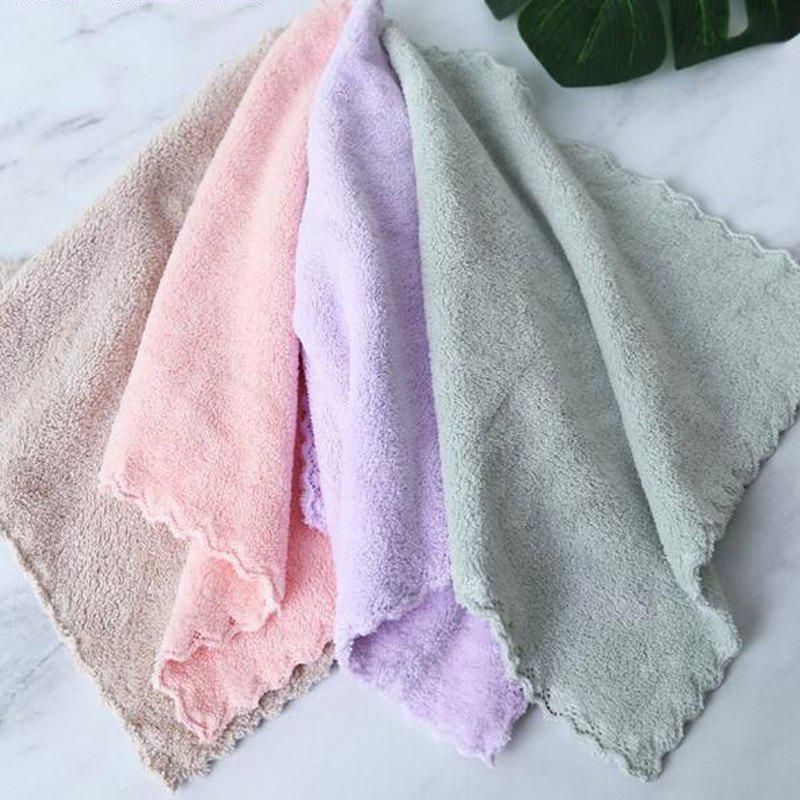 4 Pcs Face Towels Thickened Soft Water Absorption Baby Face Towels - LIGHT YELLOW 25CM X 25CM