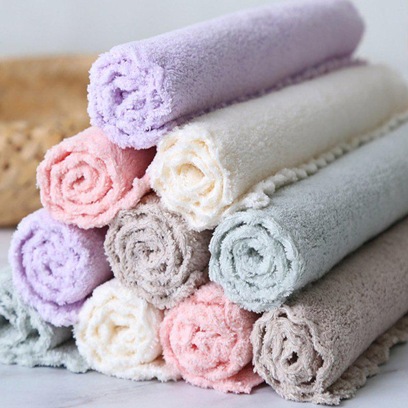 4 Pcs Face Towels Thickened Soft Water Absorption Baby Face Towels - PURPLE/GREY 25CM X 25CM