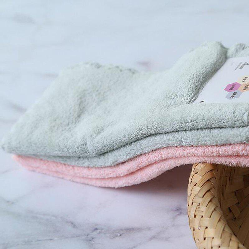 4 Pcs Face Towels Thickened Soft Water Absorption Baby Face Towels - PINK/GREEN 25CM X 25CM