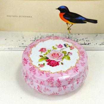 Desk Storage Box Pastoral Style Floral Pattern Round Candy Box - RED 8.5CM X 8.5CM X 3.5CM