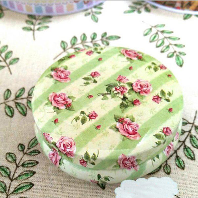 Desk Storage Box Pastoral Style Floral Pattern Round Candy Box - GREEN 8.5CM X 8.5CM X 3.5CM