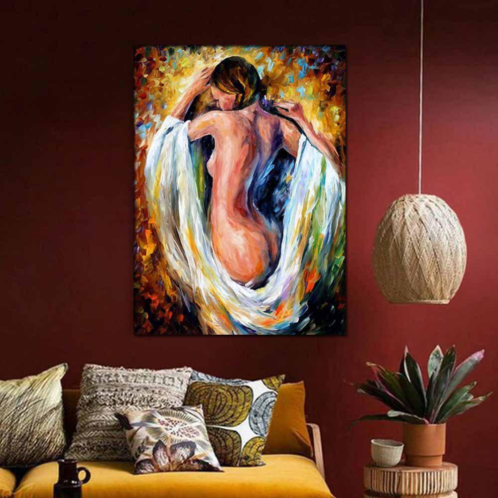 Hand Painted Abstract Palette Knife Oil Pianting Sexy Nude Woman Wall Picture Room Wall Decoration No Framed - COLORMIX 24 X 36 INCH (60CM X 90CM)