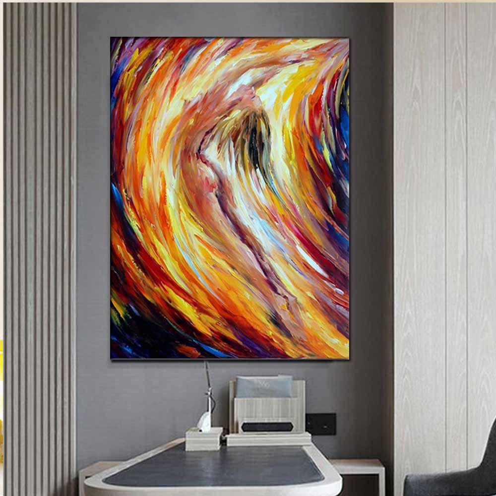Hand Painted Abstract Nude Woman Palette Knife Oil Painting on Canvas Living Room Home Decor - COLORMIX 24 X 36 INCH (60CM X 90CM)