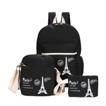 3 Pcs School Bags Set Tower Pattern