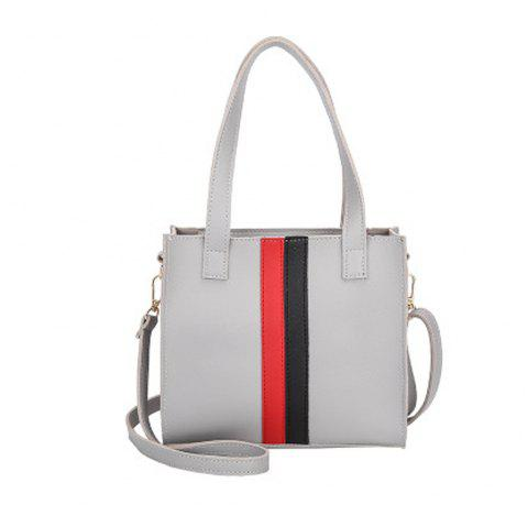 Women's Handbag Patchwork Striped Casual Style Fashionable Retro Bag - GRAY