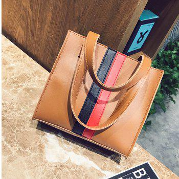 Women's Handbag Patchwork Striped Casual Style Fashionable Retro Bag - BROWN