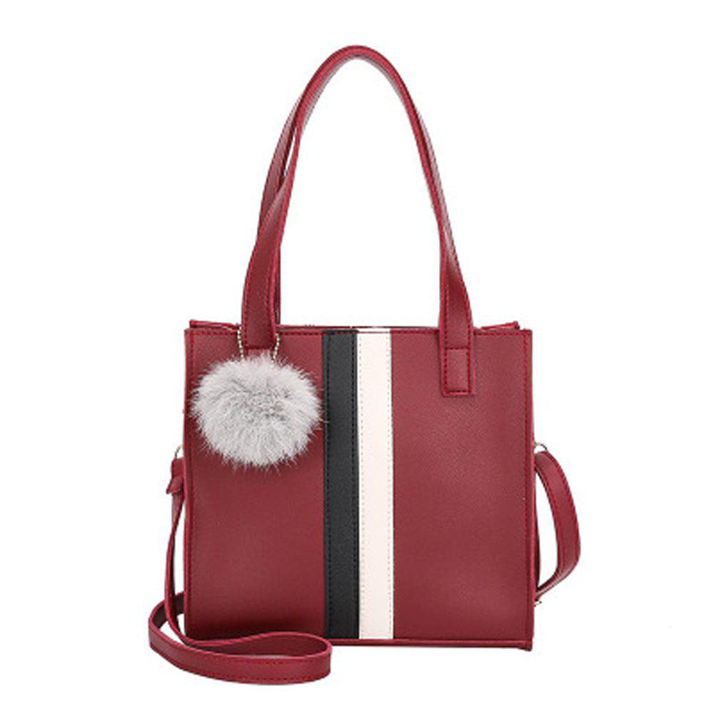 Women's Handbag Patchwork Striped Casual Style Fashionable Retro Bag - RED