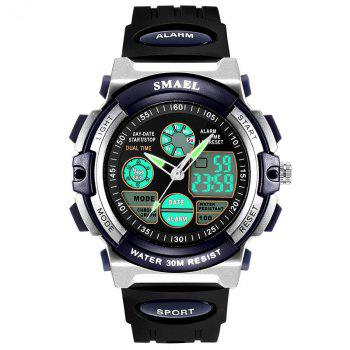 SMAEL SL0508 Multi-Function Smart Waterproof Electronic LED Sport Watch - SILVER AND BLUE SILVER/BLUE