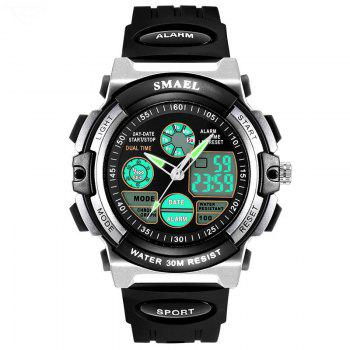 SMAEL SL0508 Multi-Function Smart Waterproof Electronic LED Sport Watch - SILVER AND BLACK SILVER/BLACK