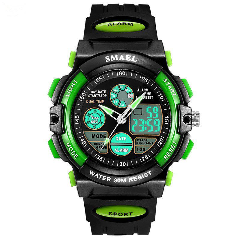SMAEL SL0508 Multi-Function Smart Waterproof Electronic LED Sport Watch - GREEN