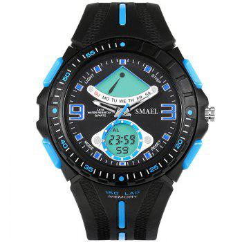 SMAEL 1315 Fashion Multi-function Electronic Sport LED Watch - BLACK AND BLUE BLACK/BLUE