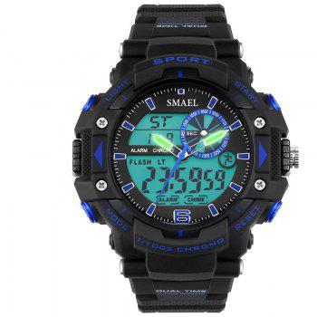 SMAEL SL1379 Multi-Function Waterproof Sport LED Watch - BLACK AND BLUE BLACK/BLUE