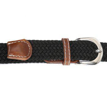 Fashion Korean Style Breathable Durable Weaving Elastic Waist Belt Alloy Buckle - BLACK