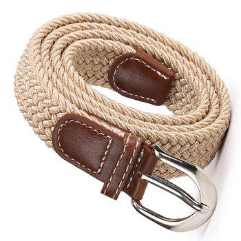 Fashion Korean Style Breathable Durable Weaving Elastic Waist Belt Alloy Buckle -  KHAKI