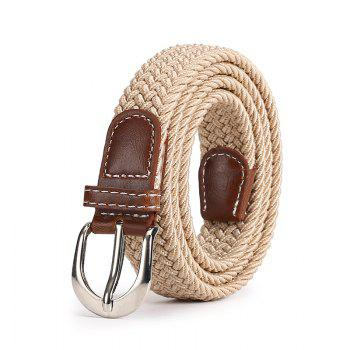 Fashion Korean Style Breathable Durable Weaving Elastic Waist Belt Alloy Buckle - KHAKI KHAKI