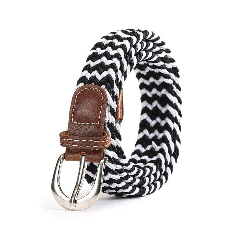 Fashion Korean Style Breathable Durable Weaving Elastic Waist Belt Alloy Buckle - WHITE/BLACK