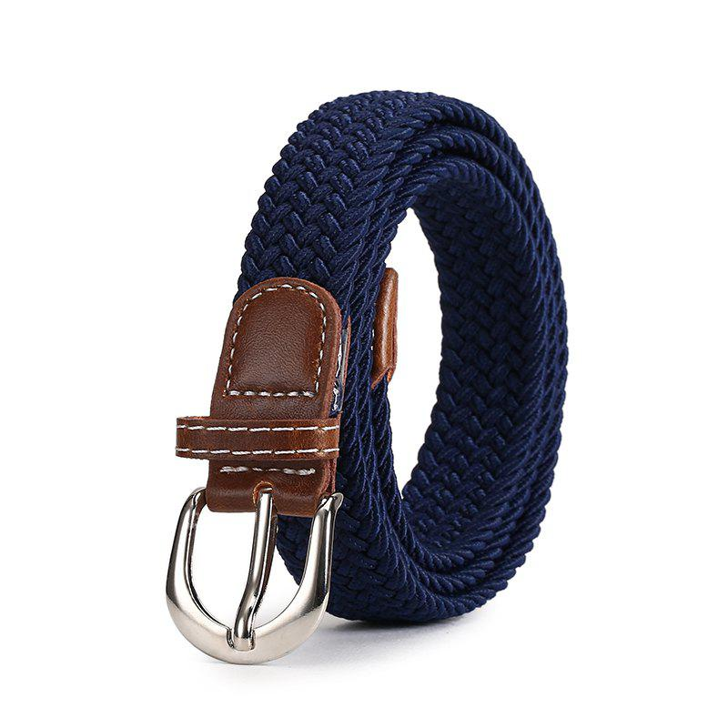 Fashion Korean Style Breathable Durable Weaving Elastic Waist Belt Alloy Buckle - BLUE