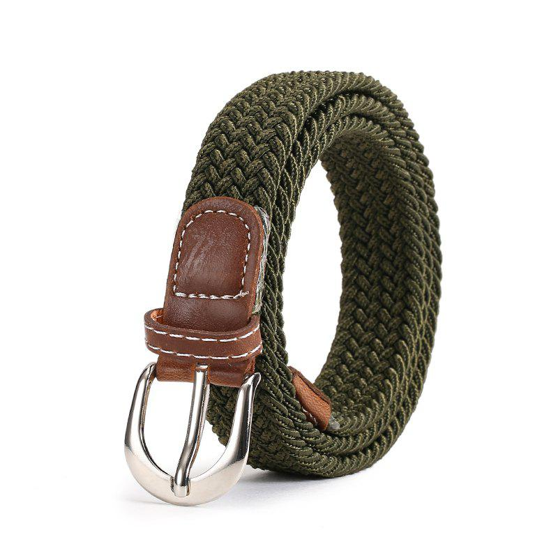 Fashion Korean Style Breathable Durable Weaving Elastic Waist Belt Alloy Buckle - ARMY GREEN
