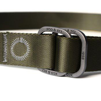 Quick Dry Double Ring Metal Buckle Wide Nylon Weaving Waist Belt for Male -  ARMY GREEN