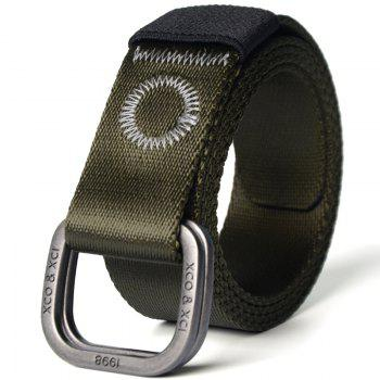 Quick Dry Double Ring Metal Buckle Wide Nylon Weaving Waist Belt for Male - ARMY GREEN ARMY GREEN