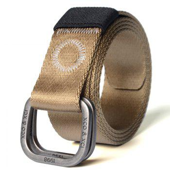 Quick Dry Double Ring Metal Buckle Wide Nylon Weaving Waist Belt for Male - BROWN BROWN