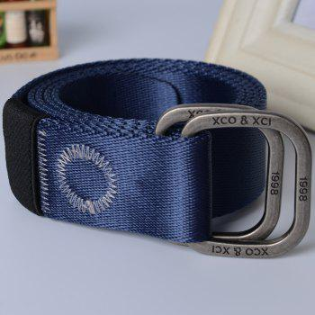 Quick Dry Double Ring Metal Buckle Wide Nylon Weaving Waist Belt for Male -  BLUE