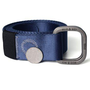 Quick Dry Double Ring Metal Buckle Wide Nylon Weaving Waist Belt for Male - BLUE BLUE