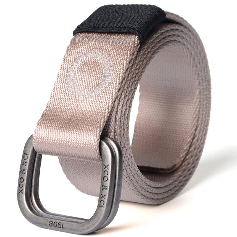 Quick Dry Double Ring Metal Buckle Wide Nylon Weaving Waist Belt for Male - KHAKI