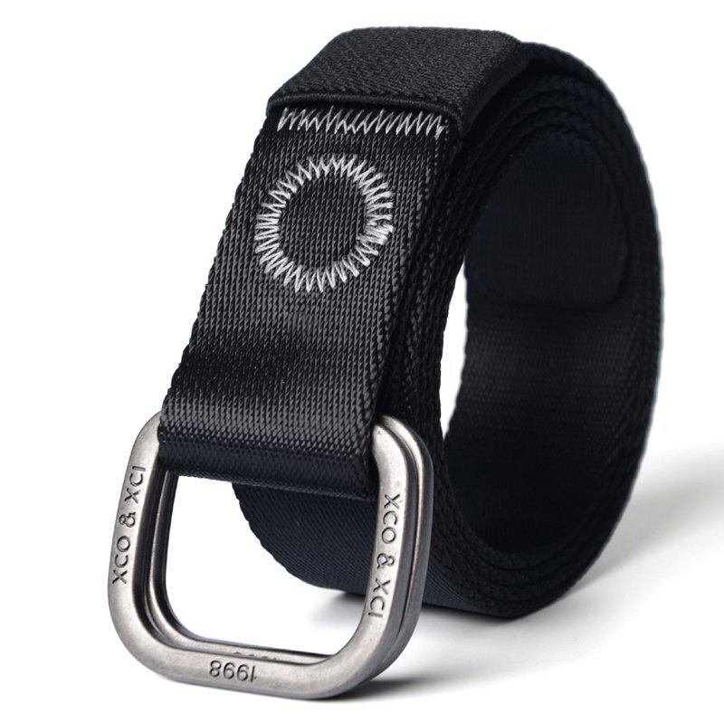 Quick Dry Double Ring Metal Buckle Wide Nylon Weaving Waist Belt for Male - BLACK