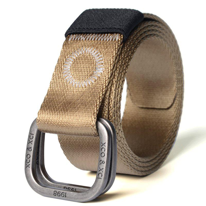 Quick Dry Double Ring Metal Buckle Wide Nylon Weaving Waist Belt for Male - BROWN