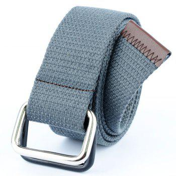 Fashion Design Double Ring Metal Buckle Weaving Breathable Waist Belt for Students - GRAY GRAY
