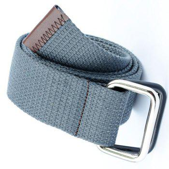 Fashion Design Double Ring Metal Buckle Weaving Breathable Waist Belt for Students - GRAY