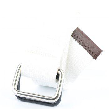 Fashion Design Double Ring Metal Buckle Weaving Breathable Waist Belt for Students - WHITE WHITE