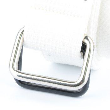 Fashion Design Double Ring Metal Buckle Weaving Breathable Waist Belt for Students - WHITE