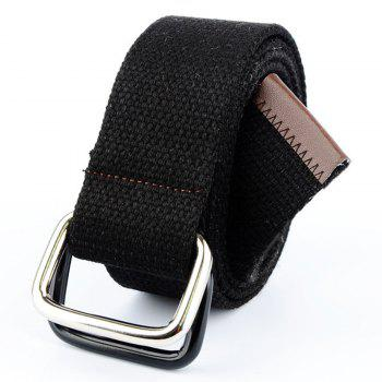 Fashion Design Double Ring Metal Buckle Weaving Breathable Waist Belt for Students - BLACK BLACK