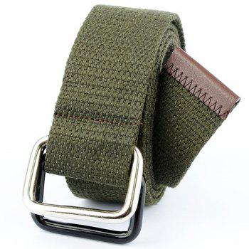 Fashion Design Double Ring Metal Buckle Weaving Breathable Waist Belt for Students - ARMY GREEN ARMY GREEN