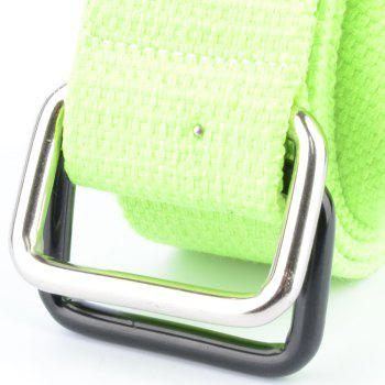 Fashion Design Double Ring Metal Buckle Weaving Breathable Waist Belt for Students -  GREEN