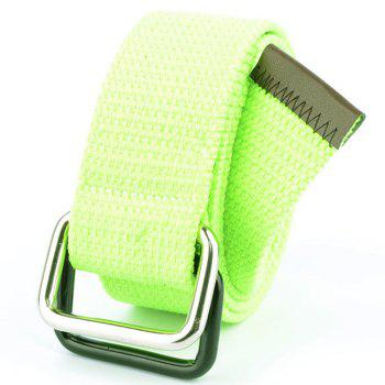 Fashion Design Double Ring Metal Buckle Weaving Breathable Waist Belt for Students - GREEN GREEN