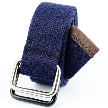 Fashion Design Double Ring Metal Buckle Weaving Breathable Waist Belt for Students - DARK BLUE DARK BLUE