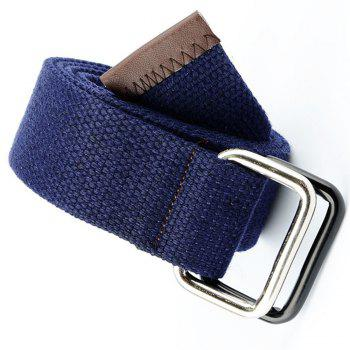Fashion Design Double Ring Metal Buckle Weaving Breathable Waist Belt for Students - DARK BLUE
