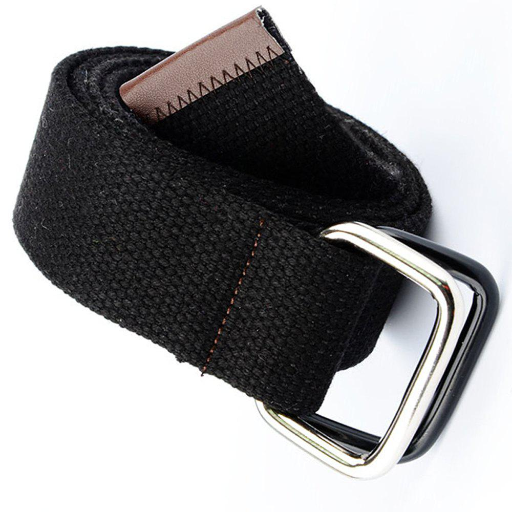 Fashion Design Double Ring Metal Buckle Weaving Breathable Waist Belt for Students - BLACK