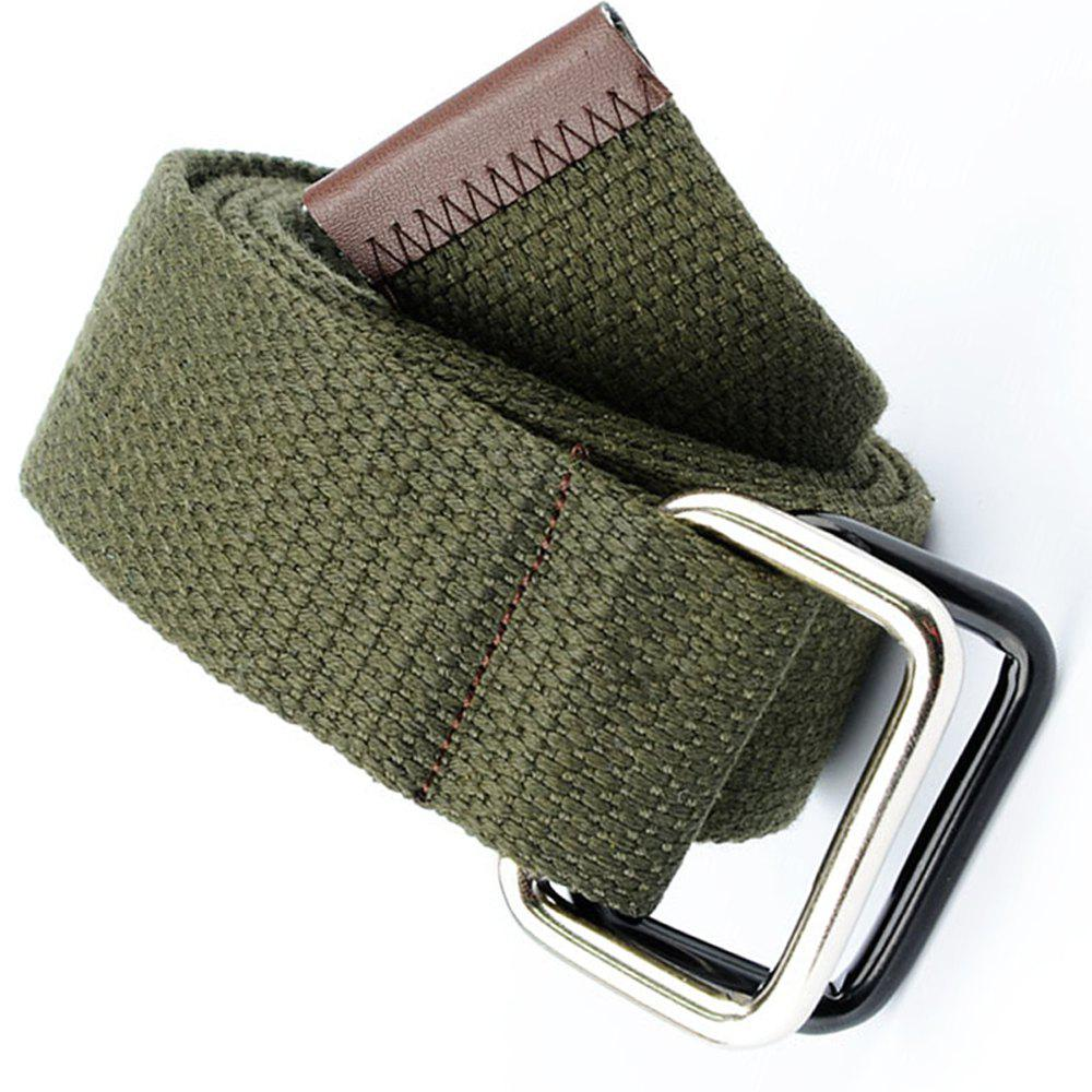 Fashion Design Double Ring Metal Buckle Weaving Breathable Waist Belt for Students - ARMY GREEN