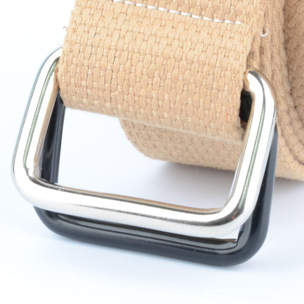 Fashion Design Double Ring Metal Buckle Weaving Breathable Waist Belt for Students - KHAKI