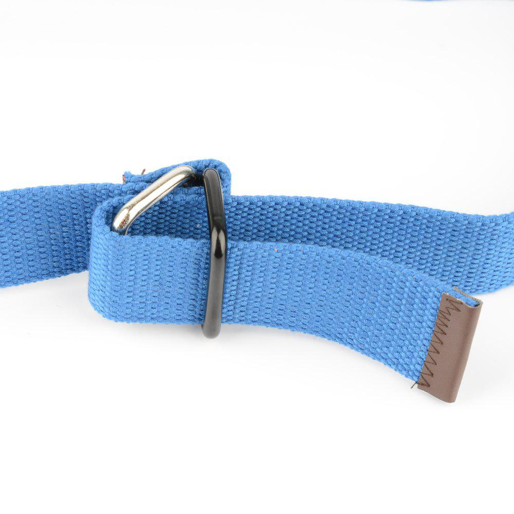 Fashion Design Double Ring Metal Buckle Weaving Breathable Waist Belt for Students - LIGHT BLUE