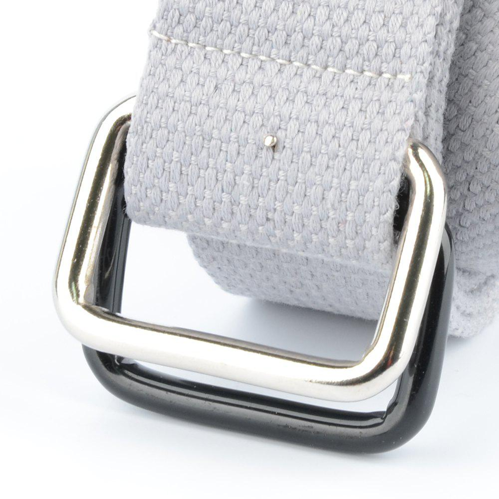 Fashion Design Double Ring Metal Buckle Weaving Breathable Waist Belt for Students - LIGHT GRAY