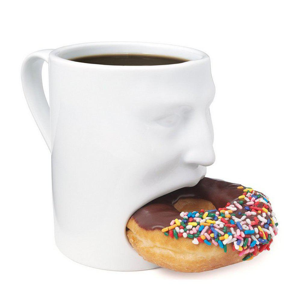 Creative Face Cookie Ceramic Mug - WHITE