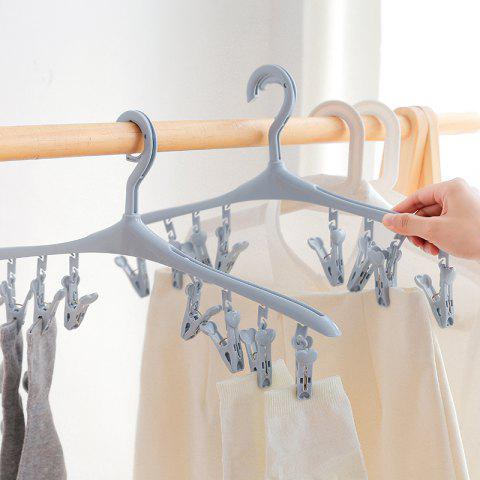 Can Rotate 8 Clip Plastic Clothes-Hanger Baby Socks Underwear To Hang The Rack - BLUE 40X19CM